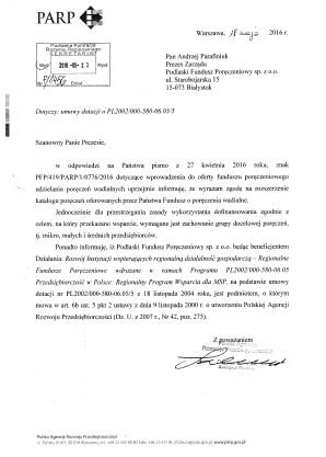 Potwierdzenie przez PARP, że PFP ma w ofercie poręczenia wadialne
