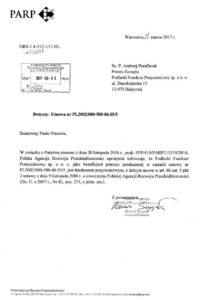 Poręczenia należytego wykonania umowy - pismo PARP